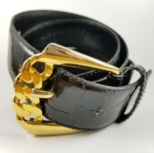 Accessories - Gold chain buckle Italian leather vintage belt